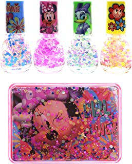 TownleyGirl Minnie Mouse Super Sparkly Peel-Off Nail Polish with Nail Storage Case, 5 CT