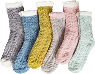5/6 Pairs Womens Fuzzy Socks Winter Warm Fluffy Socks Solid and Striped Sleeping Cozy Socks