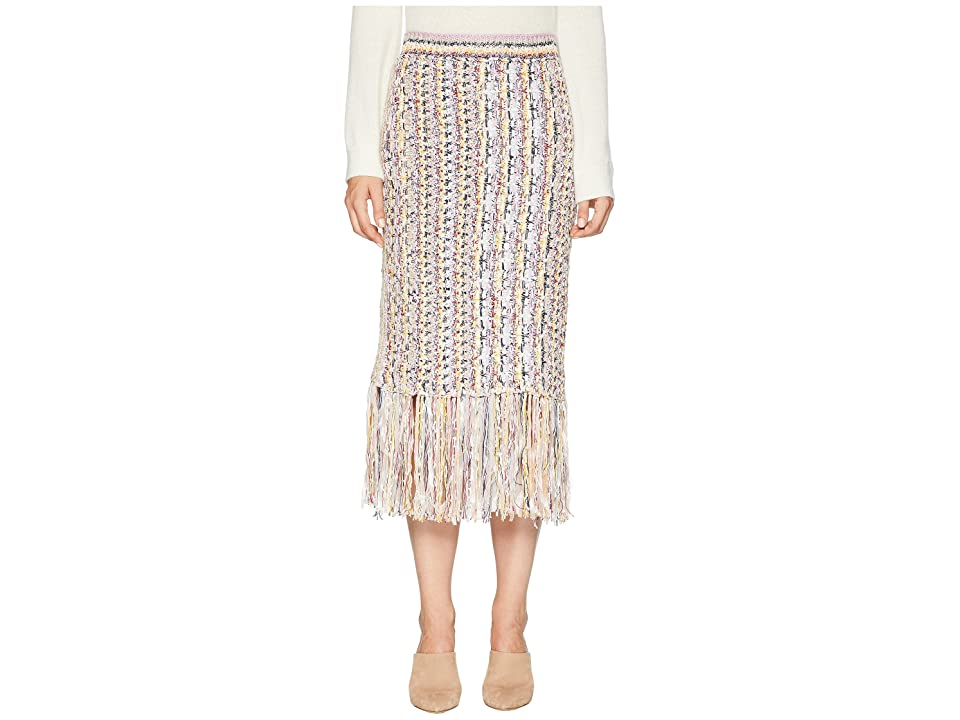 Image of Adam Lippes Handknit Tweed Midi Skirt with Fringe (Ivory/Pink Multi) Women's Skirt