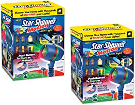 Star Shower Motion Laser Light by BulbHead - Indoor Outdoor Laser Light for Hassle-Free Holiday Decorating – Sparking or Still Red and Green Laser Lights Cover up to 3200 Square Feet… (2 Pack)