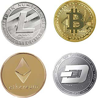 Bitcoin Coin Collector's Cryptocurrency Gift Set  Bitcoin (BTC) Ethereum (ETH) Litecoin (LTC) Dash (Dash) Gold and Silver ...