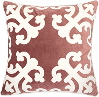 Homey Cozy Applique Blush Velvet Throw Pillow Cover,Pink Series Floral Fuzzy Cozy Warm Slik Decorative Square Couch Cushion Pillow Case 20 x 20 Inch, Cover Only