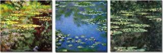 Wieco Art 3 Piece Canvas Prints Wall Art of Claude Monet Famous Flowers Oil Paintings Reproduction for Kitchen Home Decorations Water Lilies Pond Modern Gallery Wrapped Giclee Floral Picture Artwork
