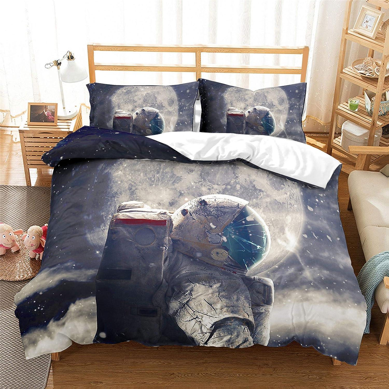 Espace Monstre Planète Météorite Astronaute Literie Ensemble Housse De Couette Cadeau Douillette 3 Pièce Drap De Lit Taie d'oreiller Double Plein Queen Taille ( 2,GB King 220  230cm)