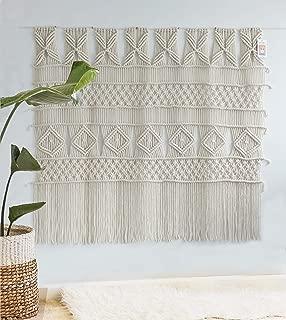 Flber Macrame Wall Hanging Macrame Curtain Panel Boho Wedding Woven Wall Art Home Wall Décor,52