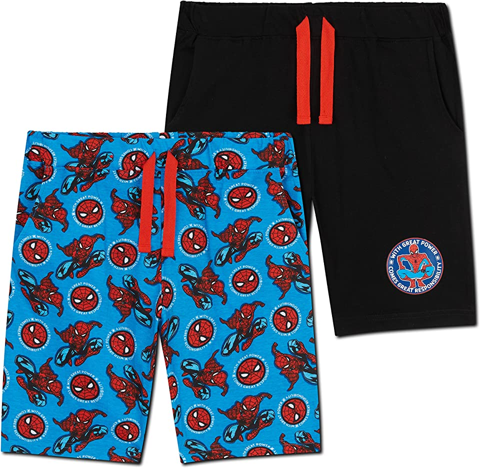 Spiderman Boys Shorts, Set of 2 Superhero Cotton Shorts for Kids & Teens
