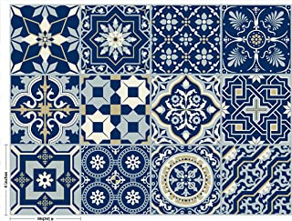 The Nisha 24 PC Pack Art Eclectic Peel and Stick Wall Sticky Backsplash Vinyl Waterproof Removable Tile Sticker Decals for Bathroom & Kitchen, 4x4 Inch, Royal Blue 1274