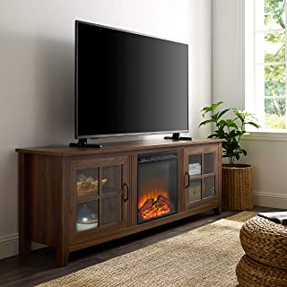 WE Furniture Fireplace TV Stand, Dark Walnut