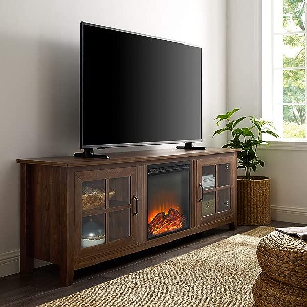 WE Furniture Fireplace TV Stand 70 Dark Walnut