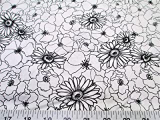 Fabric Quilting Cotton Keepsake Calico Poppy Stitch White Black Floral T13