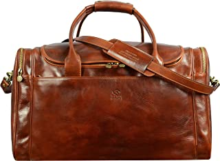 Brown Leather Duffel Bag, Leather Weekend bag, Large Travel Bag - Time Resistance