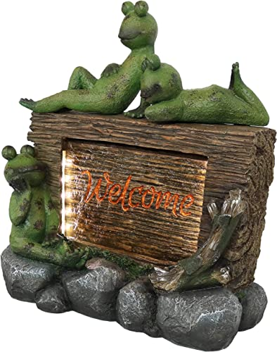 2021 Sunnydaze Frogs with Welcome Sign Outdoor Water 2021 Fountain outlet online sale Decor with LED Lights, 22-Inch online sale