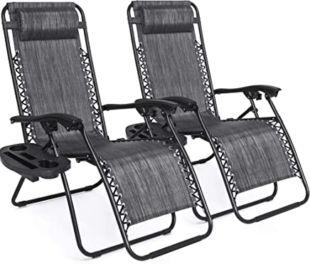 Best Choice Products Set of 2 Adjustable Zero Gravity Lounge Chair Recliners for Patio, Pool w/Cup Holder Trays, Pillows - Brown