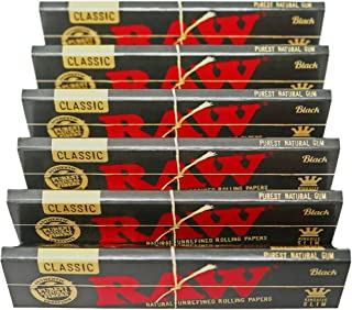 RAW Classic Black King Size Slim Natural Unrefined Ultra Thin 110mm Rolling Papers (6 Packs)