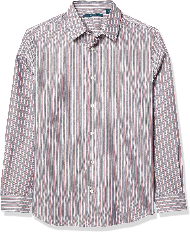 Perry Ellis Men's Vertical Multi-Color Stripe Dobby Long Sleeve Button-Down Shirt