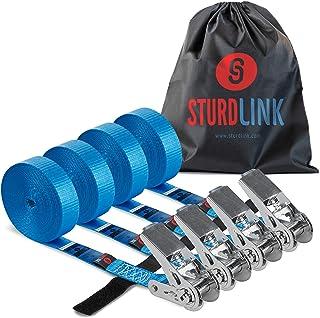 Sturdlink Lot de 4 Petites Sangles d'Arrimage a Cliquet 5m LC 800daN avec Systeme Attache Surplus Sangle et Sac Transport....