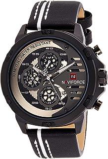 ساعة انالوج كلاسيكية بمينا اسود وسوار من جلد البولي يوريثين للرجال من نافي فورس - NF9110-BWB