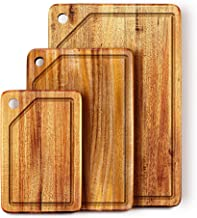KARRYOUNG Acacia Wood Cutting Board (Set of 3) with Juice Grooves - Wooden Chopping Board for Meat, Vegetables, Fruit & Ch...