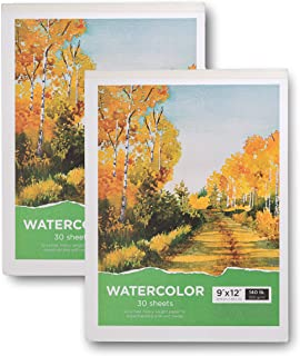 """Watercolor Pad, 9x12"""" Watercolor Paper Pad - 2-Pack, 60 Sheets, 140 Lb / 300 GSM Heavy Weight Paper - Acid Free Cold Pressed Paper Sketchbook - Perfect for Painting Drawing, Wet & Dry Media"""