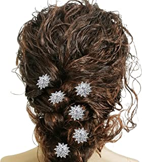 Silver Bridal Clear Crystal Rhinestone Hair Pins Set Decorative Wedding Snowflake Hair Jewelry Hair Accessories for Women Headwear (Snowflake)