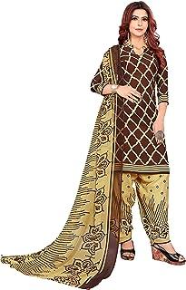 Anny Deziner Brown Crepe Printed Salwar suit material (Unstitched)
