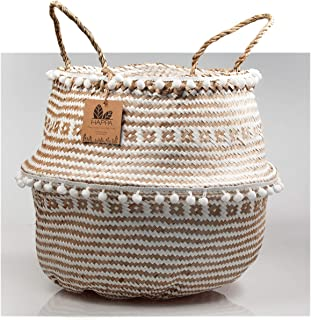Happa Woven Foldable Seagrass Belly Basket with Handles, Macrame Pom Pom, Natural, Weave Pattern, Decor Basket for Laundry, Picnic, Toys Storage, Blankets, Planter Flower, Pot Cover. (Large)