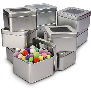 BESTonZON Cajas metálicas cuadradas de Metal Plateado Cajas metálicas Transparentes para Velas, Comida, Manualidades ...