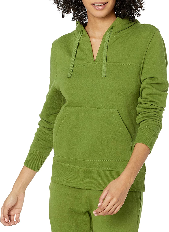 Amazon Essentials Women's Classic Fit Long Sleeve Open V-Neck Hooded Sweatshirt