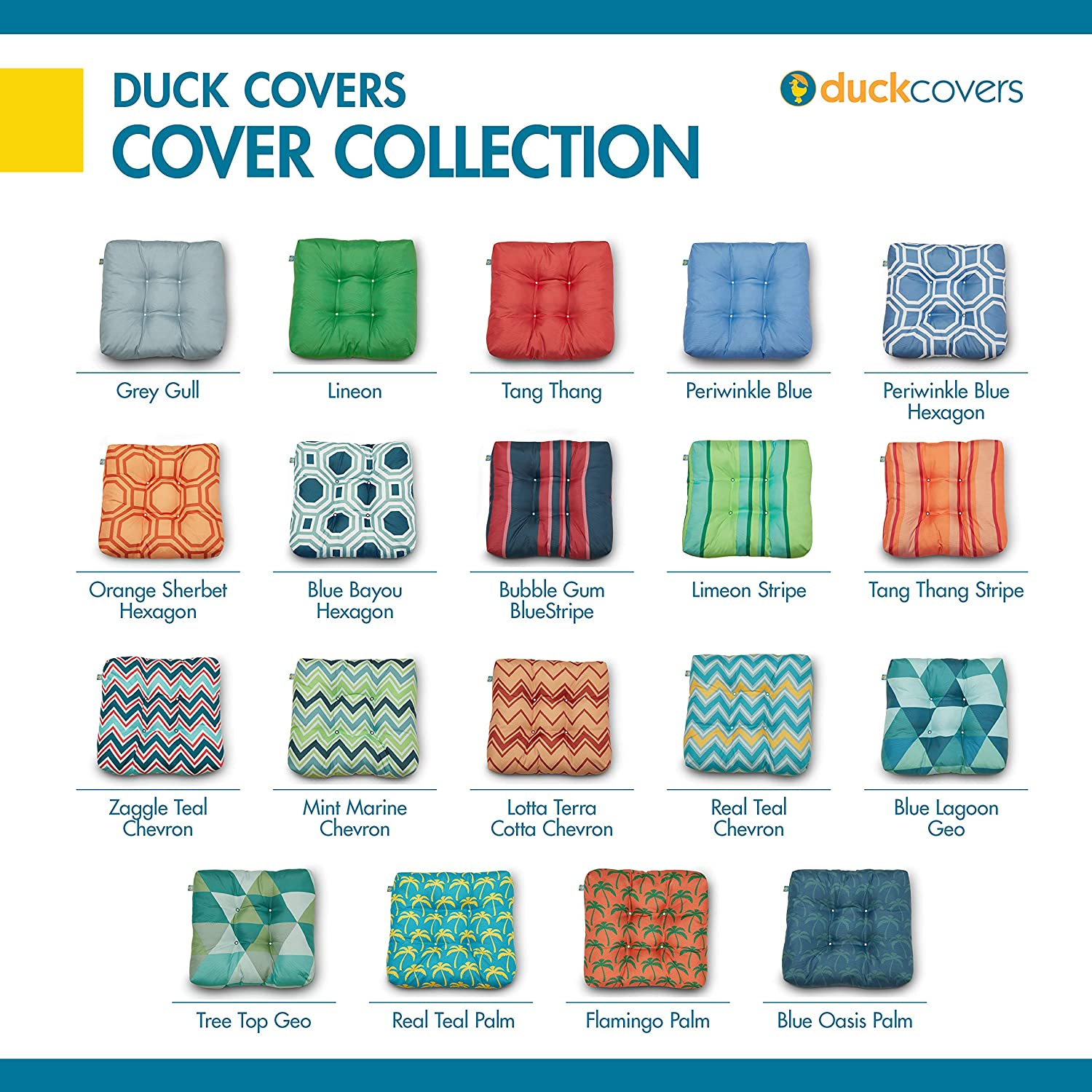 Blue Bayou Hexagon 2-Pack Mint Marine Chevron 2 Pack Duck Covers Water-Resistant 19 x 19 x 5 Inch Indoor Outdoor Seat Cushions