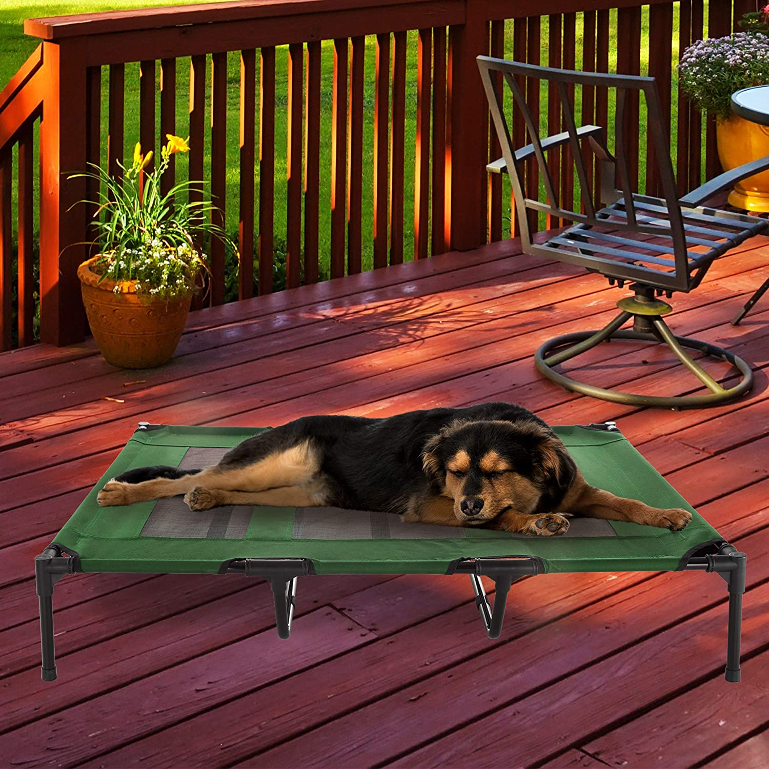 "Petmaker Elevated Pet BedPortable Raised CotStyle Bed W  NonSlip Feet, 48""x 35.5""x 9"" for Dogs, Cats, or Small PetsIndoor Outdoor Use (Green)"