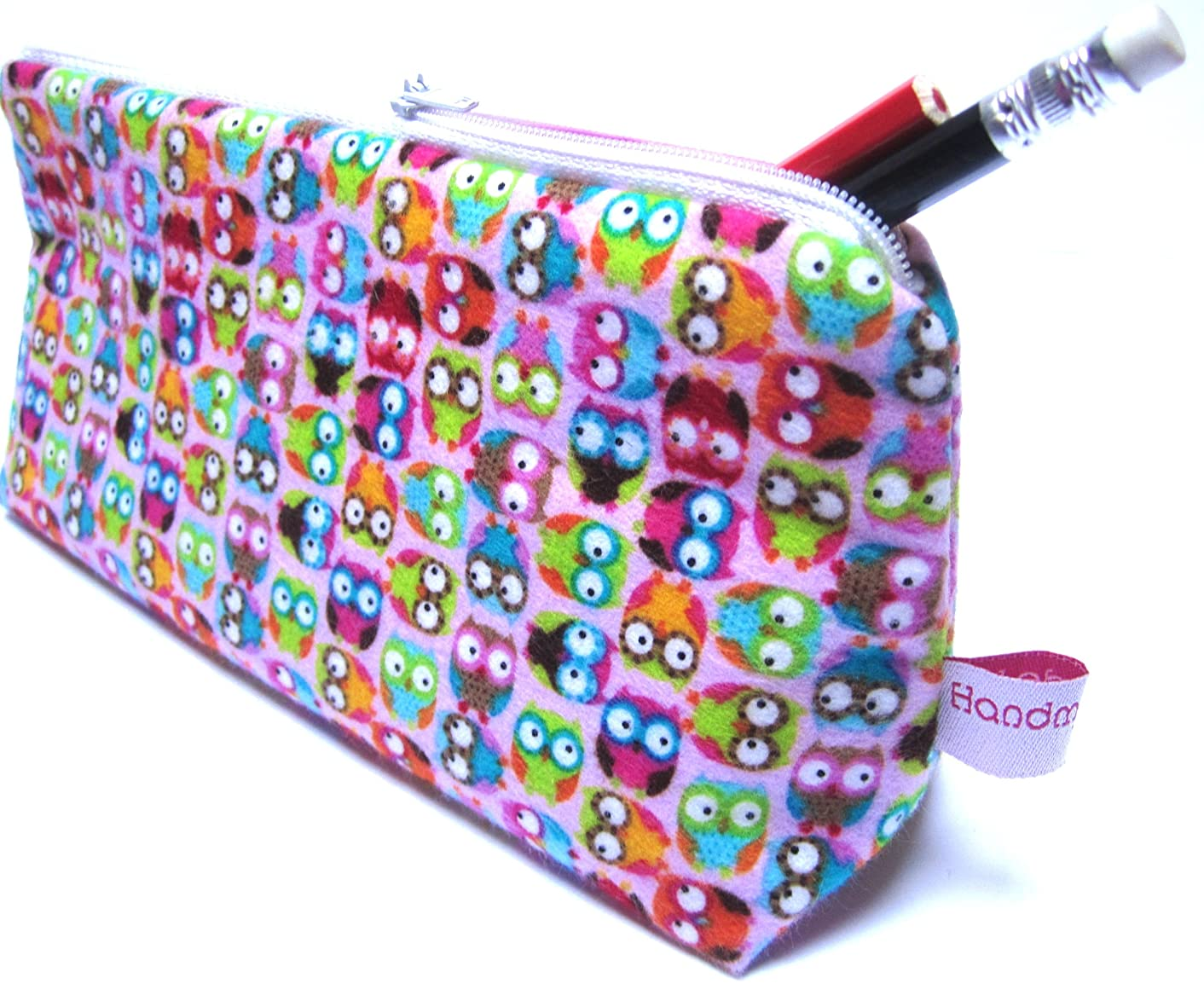 TryPinky Feather Pencil Case with Small Owls Design Pink