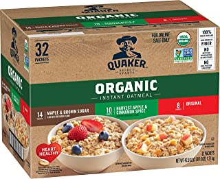 Quaker Instant Oatmeal, USDA Organic, Non-GMO Project Verified, 3 Flavor Variety Pack, Individual Packets, ...
