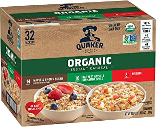 Sponsored Ad - Quaker Instant Oatmeal, USDA Organic, Non-GMO Project Verified, 3 Flavor Variety Pack, Individual Packets, ...