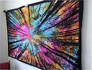 Jaipur Handloom Colorful Tree Tapestry Hippie Tie Dye Locust Tree Tapestry Psychedelic Forest Tapestry, Tree of Life Forest Tapestry, Wall Hanging Tie dye Locust Tree Tapestry Colorful Tapestry