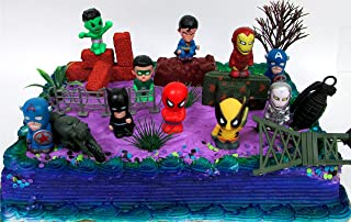 15 Piece SUPER HERO Birthday Cake Topper Set Featuring Comic Book Icon Characters and Decorative Themed Accessories