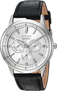 Citizen Men's 'Eco-Drive' Quartz Stainless Steel and Leather Casual Watch, Color:Black (Model: BU2070-04A)