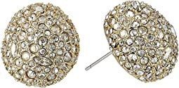 Crystal Encrusted Button Post Earrings