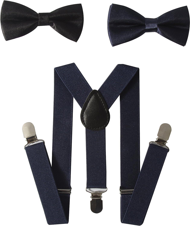 Gele Boy Fashion Elastic Suspender Bow Tie Set,A Suspender+Two Bow Ties