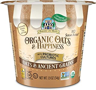 Bakery On Main | Unsweetened, 0g Sugar| Oats & Ancient Grains | Probiotic Oatmeal Cups | Gluten-Free | USDA Organic | Non ...