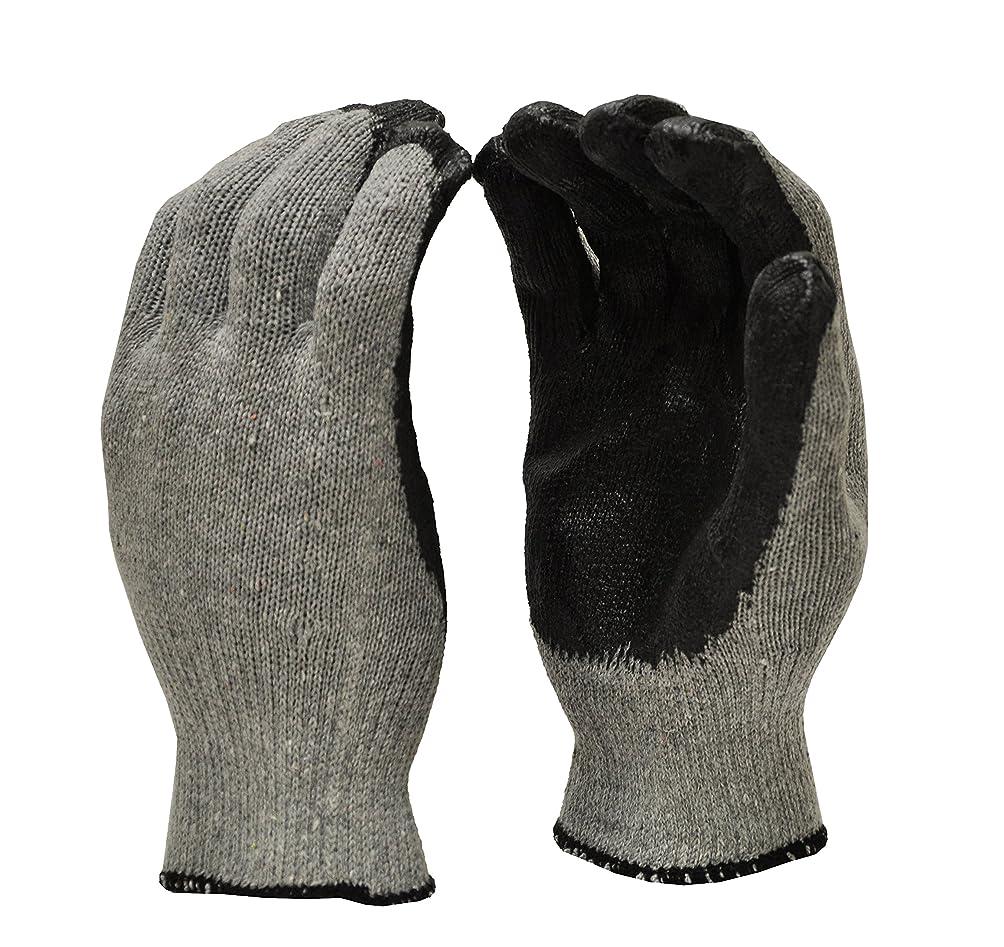 迷惑旋律的落胆するG & F 3108-300 String Knit Palm Latex Dipped Gloves in Economical Grade, Black, Large, 300-Pair by GF Gloves