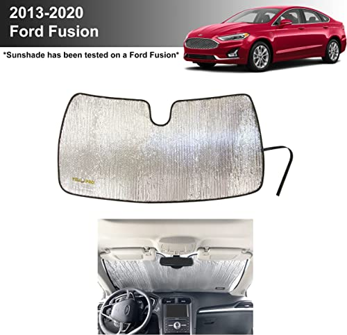 lowest YelloPro Custom Fit Automotive Reflective Front Windshield Sunshade Accessorie UV Reflector for 2013 2014 2015 2016 2017 discount 2018 2019 2020 Ford Fusion S SE SEL Titanium Sport high quality Platinum Hybrid Energi Sedan online sale