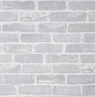 Brick Wallpaper, 222x20.8 inch Self-Adhesive White Line Peel and Stick Waterproof Vinyl Wall Covering,Home Decoration for Kitchen Wall Cabinet Vintage Furniture Shelf Liner Drawer Desk Cupboard Door