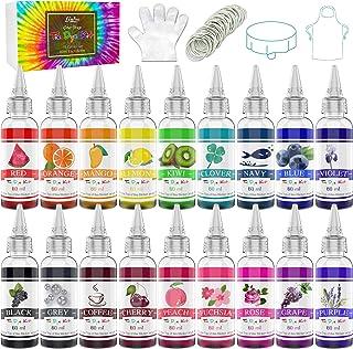 Tie Dye Kit 18 Couleurs - Peinture Textile Permanent Vives pour Enfants et Adultes, DIY Peinture de Vêtements Tissu - Tein...