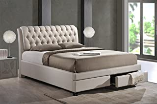 Baxton Studio Ainge Contemporary Button-Tufted Fabric Upholstered Storage Bed with 2 Drawers, King, Light Beige