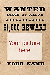 EzPosterPrints - Wanted Poster, Upload Your Image/Photo - Custom Personalized Cute Wanted Poster Printing, Wall Art Prints, Home Office Decor