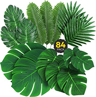 Palm Leaves Artificial Tropical Monstera - 84 Pcs 6 Kinds Large Small Green Fake Palm Leaf Decorations with Stems for Safa...