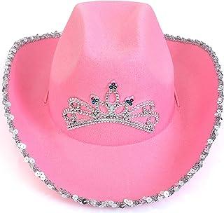 Skeleteen Pink Cowboy Hat - Pink Sequin Cowgirl Princess Hat with Crown Tiara Design