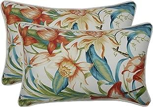Pillow Perfect Outdoor   Indoor Botanical Glow Tiger Lily Rectangular Throw Pillow (Set of 2), Blue