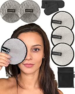 Reusable Makeup Remover Pads Set -Ogato- Eco Friendly Reusable Face Pads Suitable For All Skin- Our Reusable Makeup Pads Includes a Laundry Bag And Headband- Our Makeup Pads Are Extra Large, 5