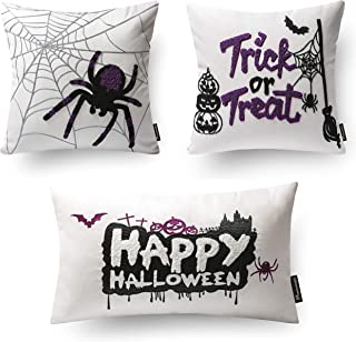 Phantoscope Set of 3 Happy Halloween 100% Cotton Embroidery White Pillow Cover Throw Pillow Case Cushion Cover 18 x 18 inches and 12 x 20 inch